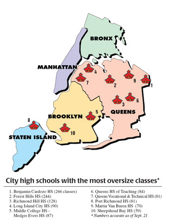 Union blasts city on rising class sizes - map - crop
