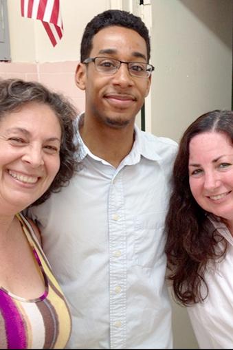 Teachers Laraine DeAngelis (left) and Kimberly Faraci flank their ...