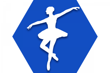 Hexagon with blue background and symbol of a dancer to represent the UFT Dance Educators Committee