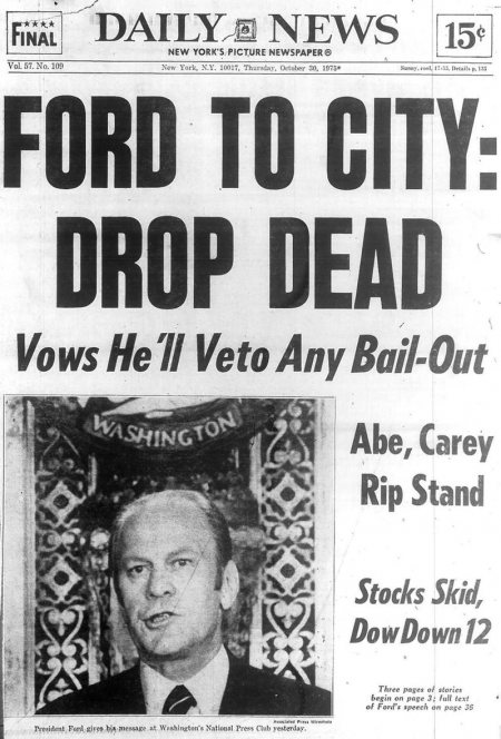 Ford to NYC - Drop Dead Daily News Cover