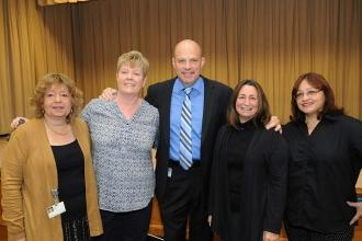 UFT President Michael Mulgrew with UFT reps, delegates and other members.