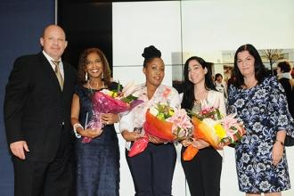 Humanitarian Award winners (from second left) Alicia Schwartz, Shanita Scotland and Bita Mehrjou gather onstage with UFT President Michael Mulgrew and Anne Goldman, the UFT vice president for non-DOE members.