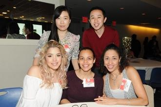 NYU Langone-Brooklyn Hospital nurses (clockwise from top left) Lili Guan, David Schum, Nelsi Duluc, Aleris Lorenzo and Ashley Rios pose during the event.