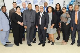 UFT Bronx High Schools District Representative Eliu Lara (front row, center) and
