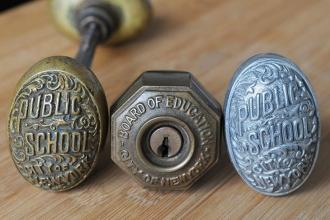 Every classroom opened with a handsomely carved brass door knob.