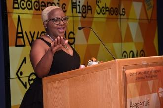 UFT Vice President for Academic High Schools Janella Hinds welcomes everyone to