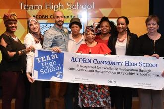 Team High School Award winners from ACORN Community HS in Brooklyn take the stag