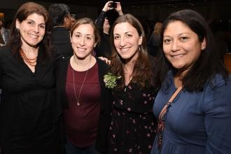 Bayside HS English teacher and honoree Jodi Waldman (second from right) with (fr