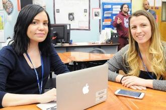 First-year English as a new language teacher Jessica Mendez (left), who grew up