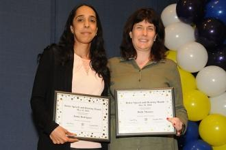 Speech providers Holly Mooney (right) and Jamie Rodriguez of PS 151 in Brooklyn