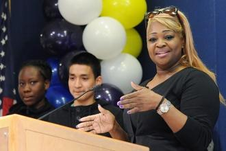 Speech provider Raquel Gabriel of PS 61 in Brooklyn and her students are recogni