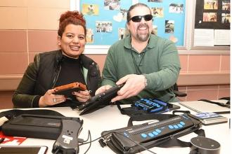 Angela Baez (left), a vision teacher at PS 141, and Vincent Pedulla, the Vision