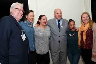 Getting together for a group shot with Bronx High Schools Special Representative