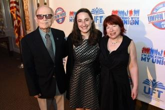 Three generations of New York City public school educators celebrate the Betty Silverman Scholarship: (from left) Silverman's husband Gene, who taught in Queens for 30 years; granddaughter Hannah Fenton, a first-year teacher at PS 133 in Brooklyn; and daughter Judith Fenton, who oversees the Department of Education's mentorship program for new teachers.