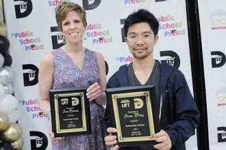 Teacher honorees Lisa Gilbride, from PS 300 and Huan Wang, from IS 190, with the