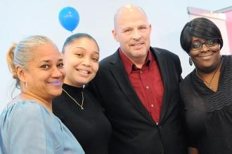 UFT President Michael Mulgrew meets Mosaic Preparatory Academy educators (from l