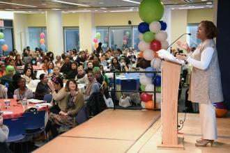 Karen Alford, the UFT vice president for elementary schools, welcomes educators