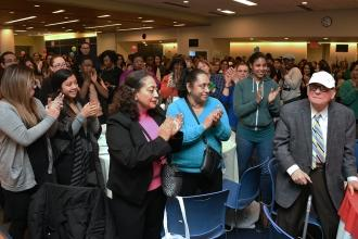 Abe Levine,a founder of the UFT receives a standing ovation from the audience