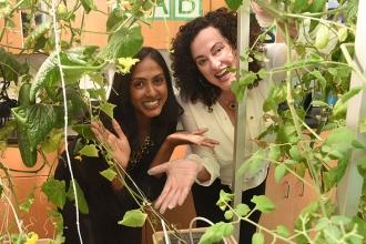 PS 349 science teachers Sheena Mathew and Amy Schier show off the now-thriving h