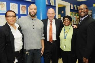 Mulgrew (center) with (from left) UFT Special Representative Winnie Thompson, UF