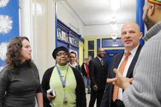 Mulgrew chats with (from left) Lorge School teacher Irina Khondo, Chapter Leader
