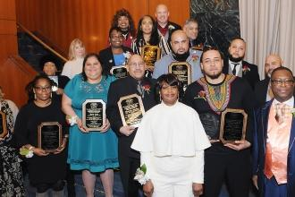 Honorees pose with their chapter leaders.