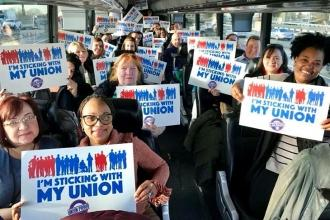 Members and parents on the Staten Island bus headed for Albany are ready and eag