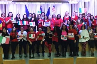 An international display at PS 239 in Ridgewood, Queens.