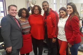 Educators wore red at PS 18 in the Bronx.