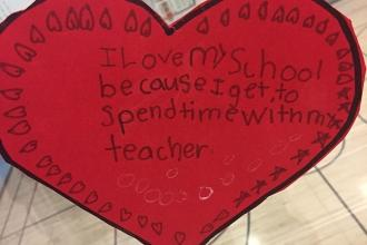 Love from a student at PS 361 in Woodside, Queens.