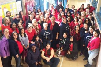 At PS 157 in the Bronx, staff wore school shirts and red on Valentine's Day and