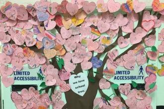 A tree of love at PS 176 in Dyker Heights, Brooklyn.