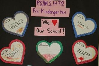 Prekindergarteners show love at PS/MS 147 in Cambria Heights, Queens.