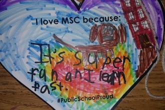 A message of love at PS 333 (the Manhattan School for Children) on the Upper Wes