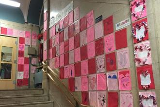 Hearts are everywhere at PS 125 in Morningside Heights, Manhattan.