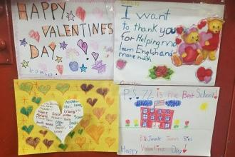 Students show love at PS 72 in Throgs Neck, the Bronx.