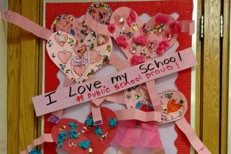 Displays of love at PS 228 in East Elmhurst, Queens.