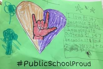 Love from a student at the American Sign Language and English Lower School (PS 3