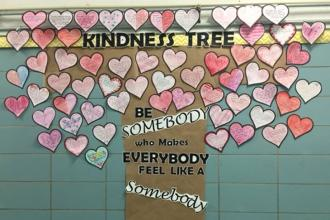 A tree of kindness shows love at PS 213 in Bayside, Queens.