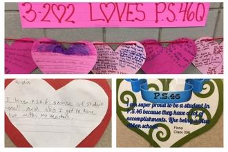 Students show love for PS 46 in Bayside, Queens.
