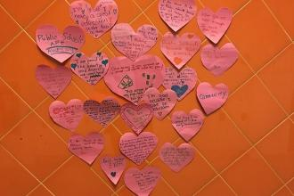 Students show love at Hunter's Point Community Middle School in Long Island City