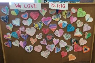 Students show love for PS 181 in Springfield Gardens, Queens.