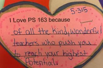 A message of love from a 5th-grader at PS 163 on the Upper West Side.