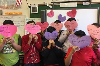 Love from 4th- and 5th-grade students at PS 131 in Jamaica Hills, Queens.