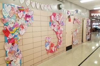 Hallway hearts show love for PS 23 on Staten Island.