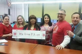 Educators show love for PS 177 in Gravesend, Brooklyn.