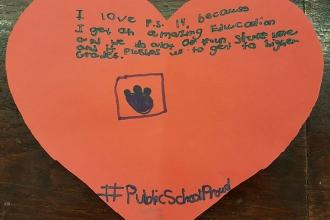 A message of love from a 4th-grader at PS 14 in the Bronx.