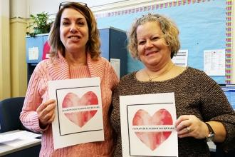 Love from school secretaries at PS 148 in East Elmhurst, Queens.