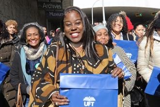 UFT members from northern Manhattan, led by District 5 Representative Zina Burto