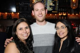 PS 124 teachers Anna Roche (left), Matt Weiner and Mayra Badillo get together fo